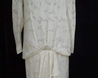 1980's Ivory Evening Gown/ Second Wedding Gown