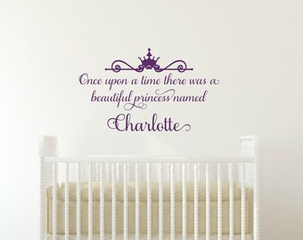 Once Upon A Time Decal Princess Wall Decal Princess Name Wall Decal Personalized Decal Girl Wall Decal Princess Vinyl Decal Girl Nursery