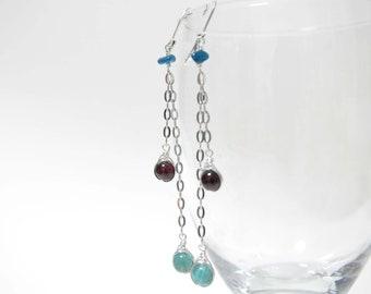 Garnet Earrings, Green Apatite Earrings, long earrings, long chain earrings, dangle earrings, blue gems