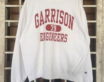 RARE!! CHAMPION Garrison 79 Engineers Sweatshirt Pull Over / Spell out Good Condition Hip Hop / Swag / Sportwear