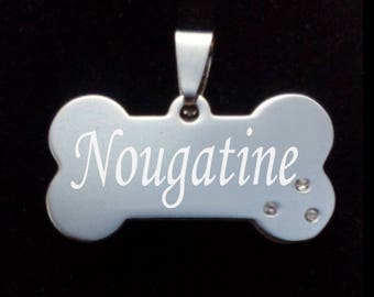 Medal dog bone RHINESTONE to personalize - name print - coordinates