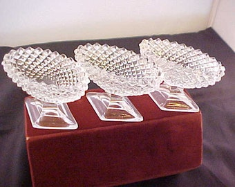 Vintage Westmoreland Clear English Hobnail Salt Dips / Nut Cup Dish (3), Set of 3 Depression Glass Individual Salt Cellars Diamond Pattern