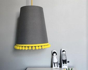 Pom Pom Lampshade In Slate Grey