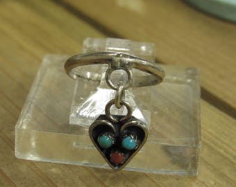 Sterling Silver Turquoise and Coral Heart Ring Size 4.5