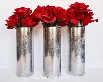 3 Mercury Glass Vases, Wedding Centerpieces,Rustic Home Decor, Flower Vase, Candle Holder, Rustic Wedding, Rustic Decor.