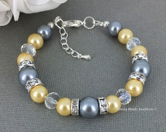 Grey Bracelet Light Yellow Bracelet Bridesmaid Gift Maid of Honor Jewelry Bridal Pearl Jewelry Wedding Bracelet Gift for Mother of the Groom