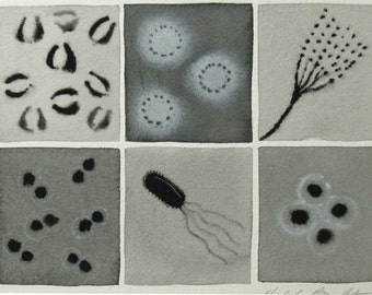 Black and White Bacteria  - original watercolor of microbes