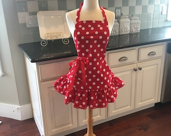 Retro Girl in Cadillac Red - Josie Style ~ Mother's Day ~ Bridal Gift ~ Women's Apron ~ 4RetroSisters
