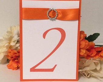 Orange & White Table Numbers (Choose Your Quantity)