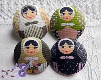 4 fabric buttons, matryoshka, 1.57 in / 40 mm