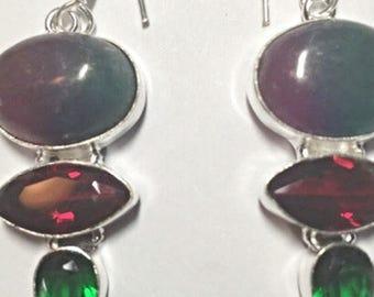 Lazolite Silver Dangling Earrings