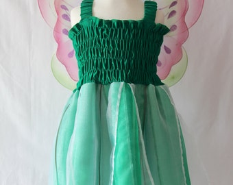 Green Fairy Dress, Woodland Fairy Dress, Girls Fairy Dress, Tinkerbell Costume, Green Party Dress, Birthday Dress, Green Costume Dress