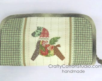 Flying Horse Patchwork Hand-Quilted Zip Around Long Wallet / Purse