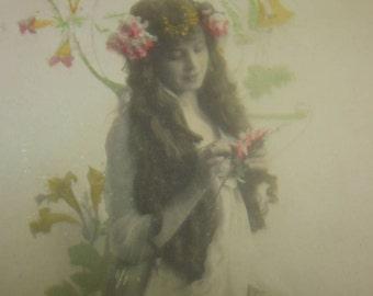 Wonderful Art Nouveau RPPC Pretty Lady #3