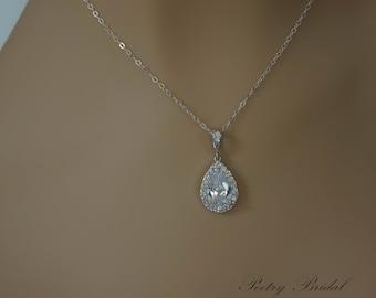 Wedding Necklace, Crystal Pendant, Bridal Necklace, Vintage Wedding Necklace, Bridal Jewelry, Wedding Jewelry