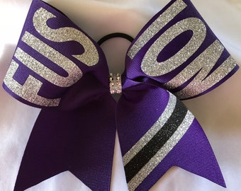 Grosgrain Custom Team Name on loops cheer cheerleading bow bows