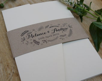 Rustic Wedding Invitation, Kraft Wedding Invite