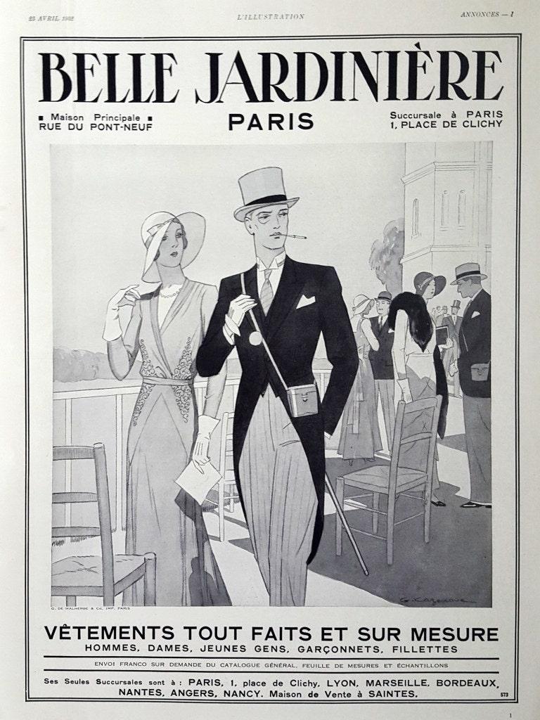 Couple poster elegant lady and gentleman Belle Jardiniere