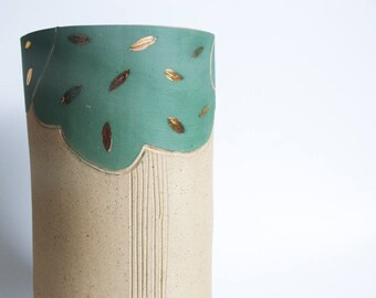 large stoneware vase, vase centrepiece, unique home decor gift for housewarming, ceramics and pottery, beige gold green tree, tall vase