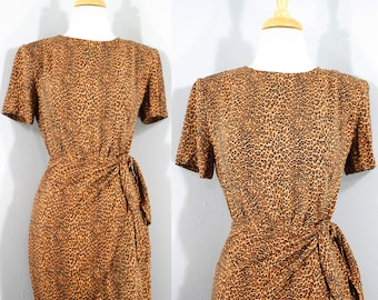 1990s Leopard Rayon Dress by Jessica Howard, Extra Small to Small | 90s Faux Wrap Dress (XS, S, 34-29-39)