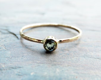 3mm Tiny, Solid 14k Natural Peridot Ring, Yellow or White Gold, Hammered or Smooth Band - August Birthstone Mother's Stacking Ring