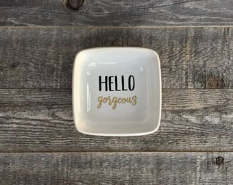 Hello Gorgeous // Square Ring Dish // Ring Holder // Jewelry Dish