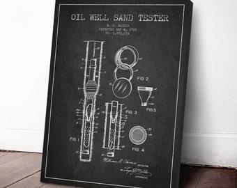 1928 Oil Well Sand Tester Patent, Oil Drilling Print, Oil Drilling Canvas Print, Oil Drilling Poster, Home Decor, Gift Idea, PFEN16C