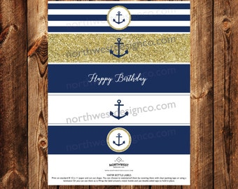 DIGITAL Nautical Gold Navy Water Bottle Labels Anchor Happy Birthday Printable Bride to Be Digital Files Party Decoration