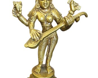 Indian Vintage Hindu Goddess Saraswati Brass Statue Playing Veena Music Divine decor