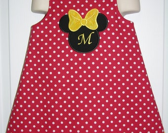 Girls/Baby/Toddler A-line jumper Dress/Pinafore/Jumper/ Vintage Inspired/Mouse Head Applique/Minnie Mouse Inspired Dress
