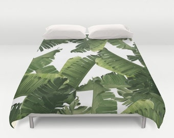 Green Duvet Cover, Full Queen King Duvet, Coastal Bedroom Decor, Banana Leaf Bed Cover, Tropical Decor, Green Comforter, Tropical Glam