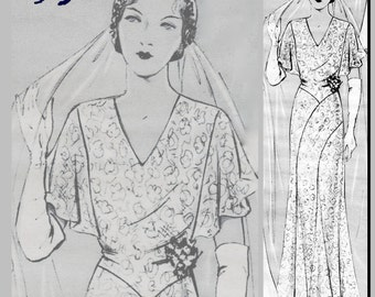 "Wedding Dress (36"" Bust) - Vintage Reproduction PDF Pattern - 1930's -  made from original 1932 Pattern (similar to La Mode Illustree)"