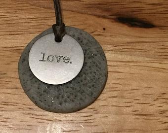 Love on stone pendant