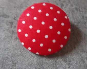 40mm red polka dot fabric covered button