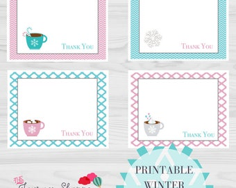 Winter Mug Hot Cocoa Printable Thank You Note Cards ~ 4 Designs ~ Instant Download (4.25x5.5 inches)