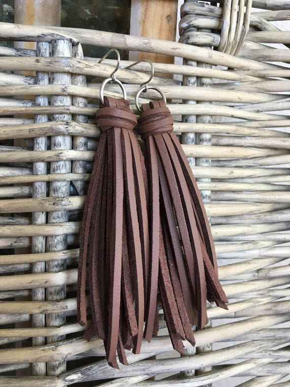 "Leather Tassel Earrings, Brown Faux Leather, Fringe Earrings, Boho Tassel Earrings, Statement Earrings, Gift for Her - Choose 2.5"" or 3.5"""
