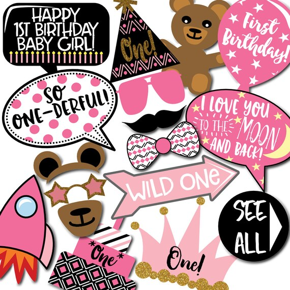 Girl's 1st Birthday Photo Booth Props 31 Printable