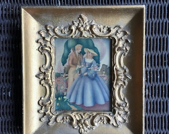 """Vintage Painting Signed by Sandre/ 1940s Antique European painting 8.5""""x 7.5""""-Signed Italian Victorian painting/ Victorian art"""