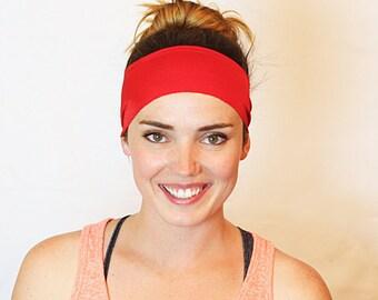 Red, Workout Headband, Fitness Headband, Yoga Headband, No slip Headband, Running Headband, Wide Headband, Crossfit