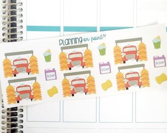Car Wash Planner Stickers (fits Erin Condren)