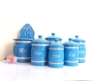 Set of 6 French enamelware canister set / French kitchenware / Kitchen storage antique enamelware / Blue sky / Containers / Enamel pots