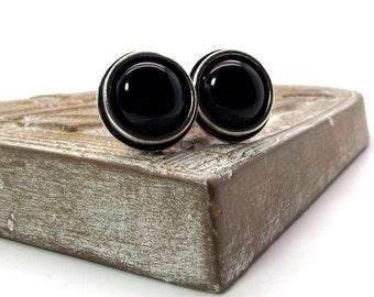 Heavenly Metal Black Onyx Cufflinks – Black Onyx Cufflinks – Black Cufflinks Round