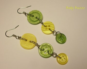 Dreaming of Summer! Button dangle earrings. Earrings for tea time in the garden! Hand selected green and yellow buttons. silver hooks.