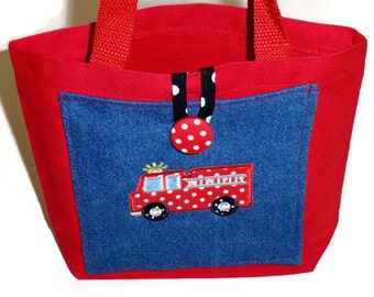 Tote Bag, Gift For Boys, Fire Truck Toy or Book Bag, Pocket Canvas Tote, Embroidered Applique Red Fire Truck