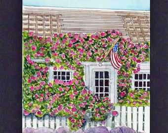 Rose Covered Cottage Cape Cod- Original Watercolor Painting- Affordable  Art-Maine-Nantucket-Wedding-Unique Gift-Art Collector-Present