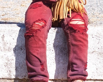 Kennedy jeans - baby , toddler , kids - hand-dyed unisex skinnies (Sizes 6m-12y) girls / boy wine jeans , distressed jeans , ripped denim