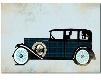 The Rolls Royce Car -  Kids Art Prints, auto, vintage car, rolls royce design, nursery decorating ideas, baby nursery