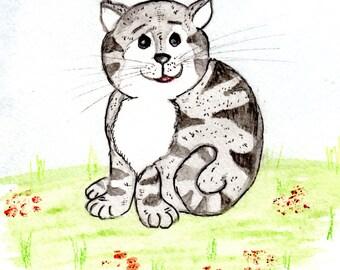 clip art sitting striped cat