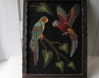 "Vintage String Art - Tropical Bird Wall Art - Eclectic Home Decor - Bohemian Wall Art - Parrot Wall Textile 19"" x 25"""