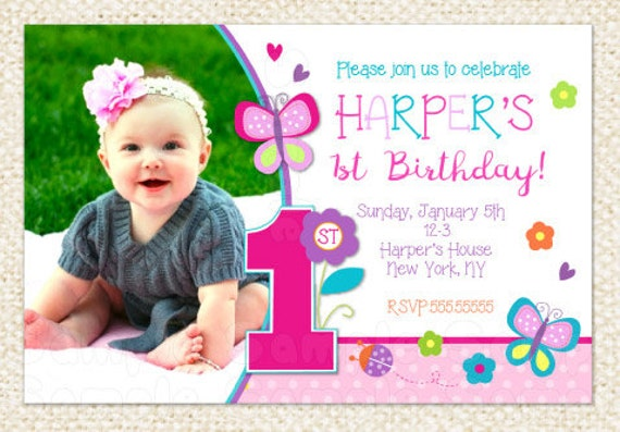 Butterfly 1st Birthday Invitations Butterfly Invitations